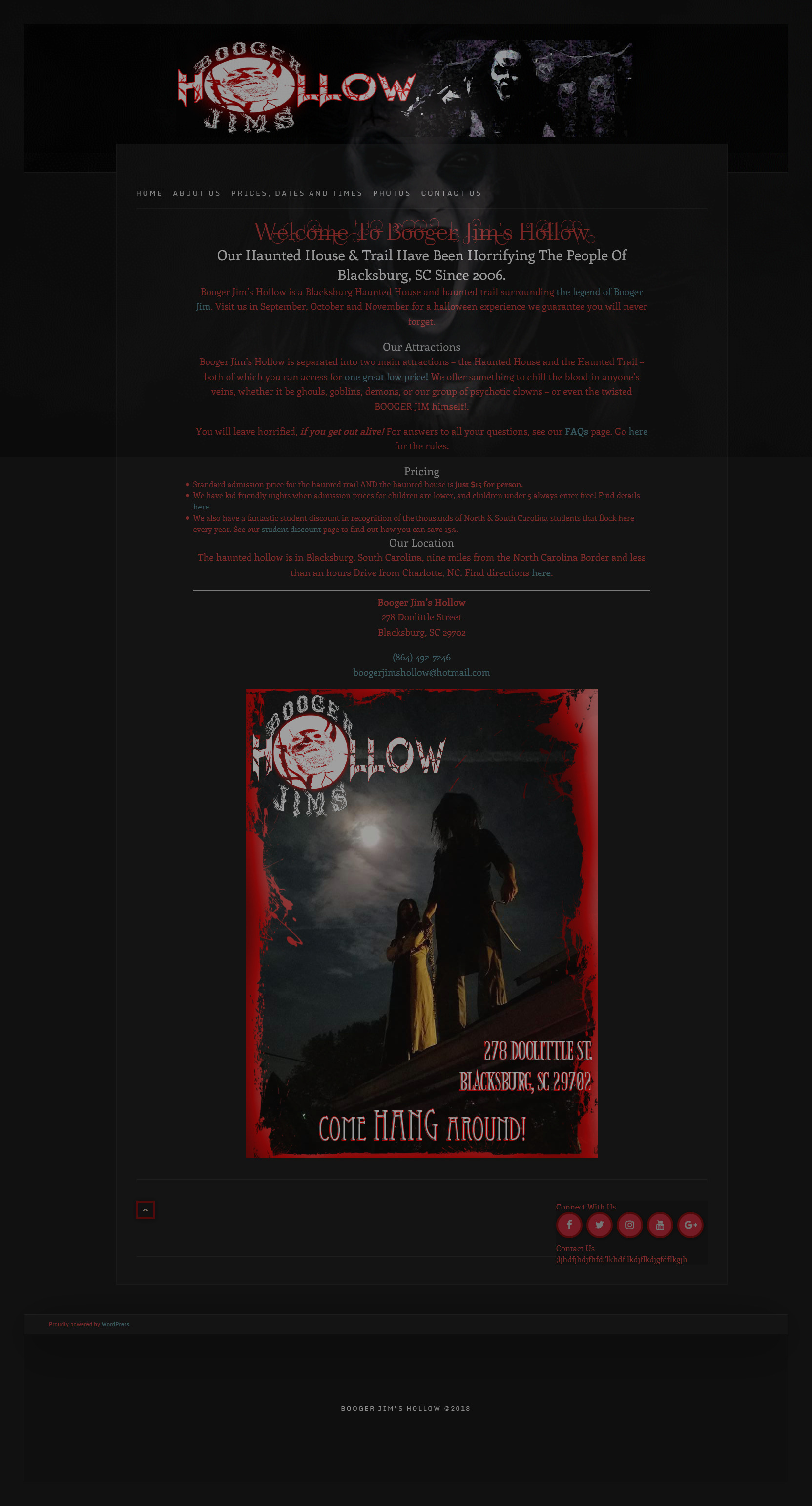 Booger Jim's Hollow website optimized and redesigned by Suffolk County Webmasters