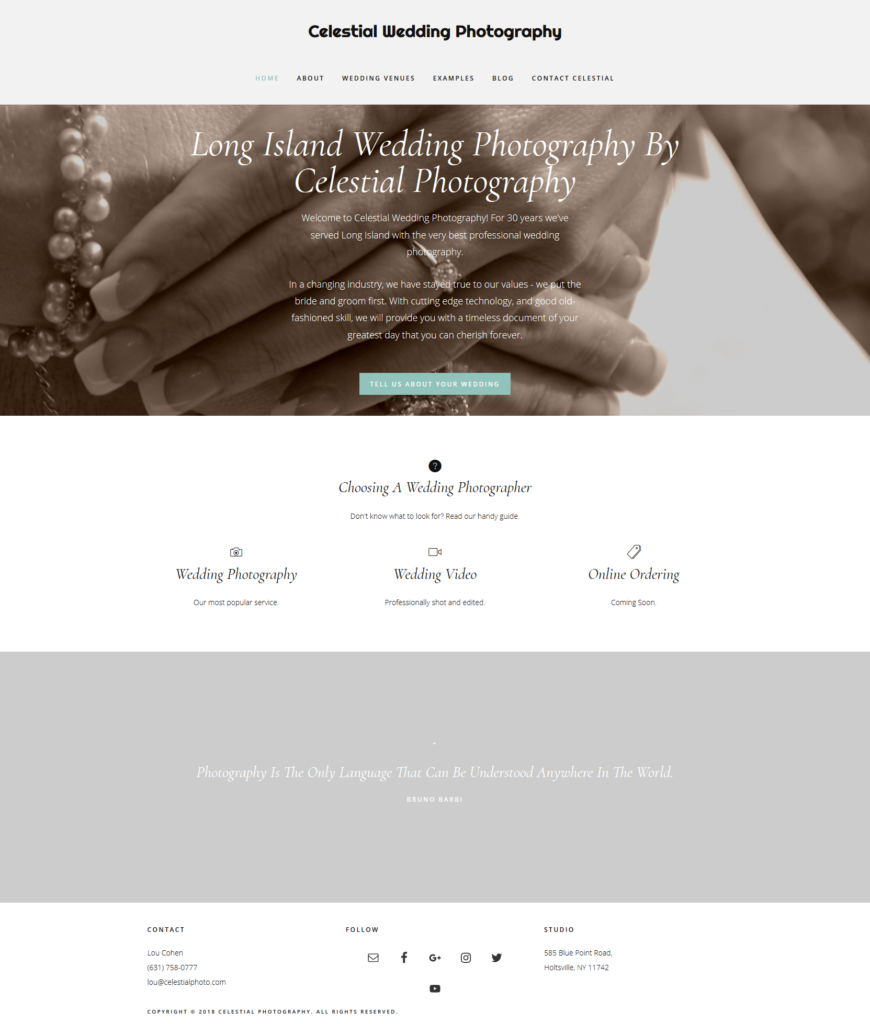 Celestial Wedding Photography website built by Suffolk County Webmasters