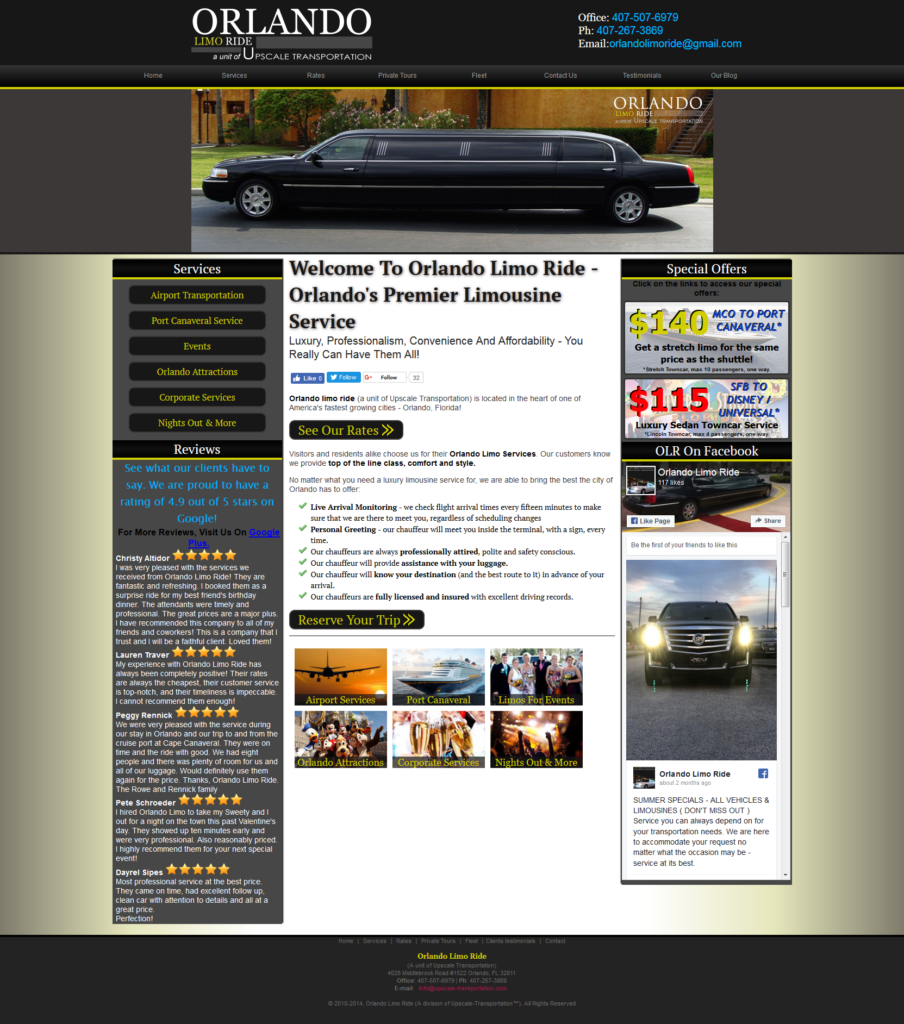 Orlando Limo Ride website built by Suffolk County Webmasters