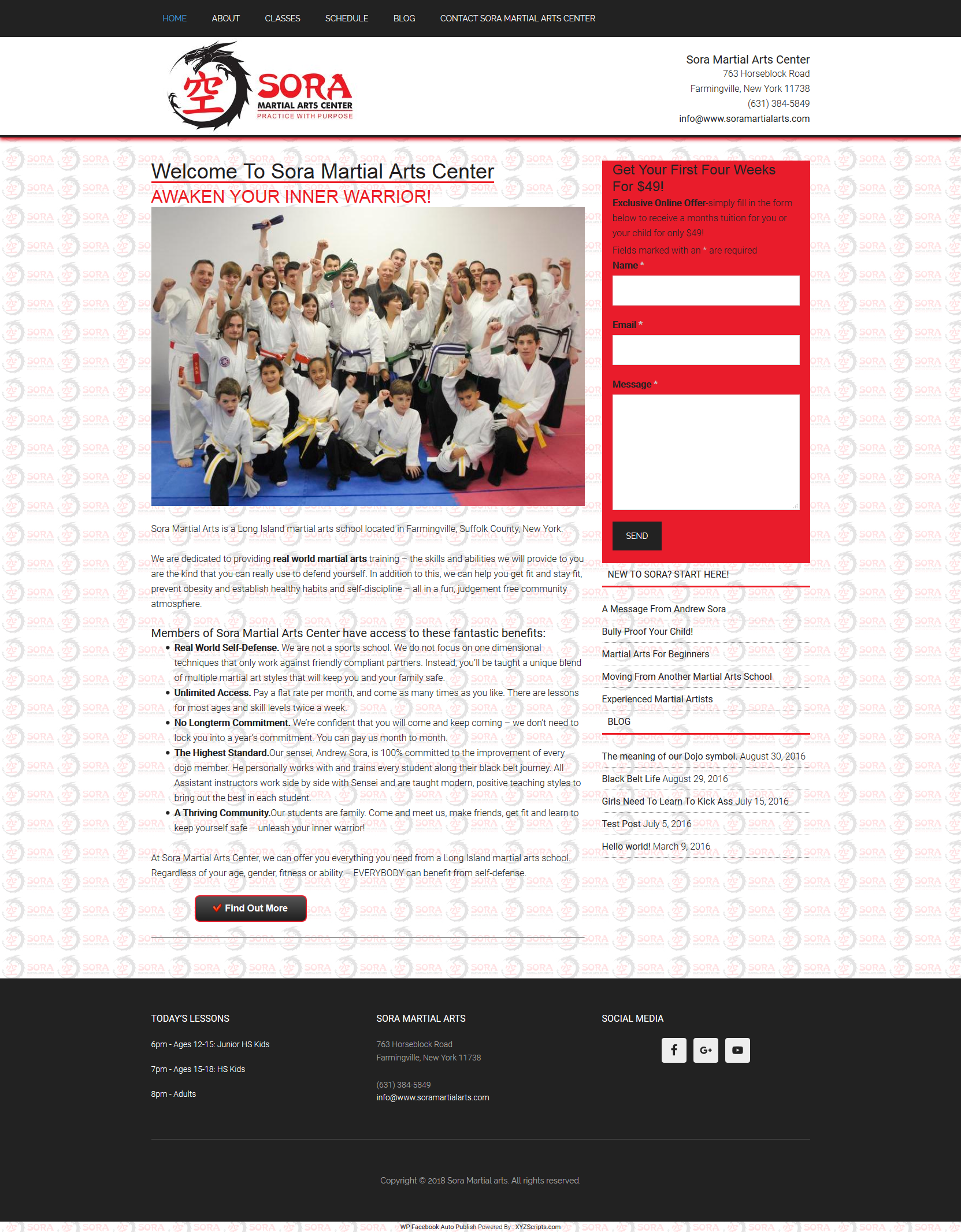 Sora Martial Arts website built by Suffolk County Webmasters