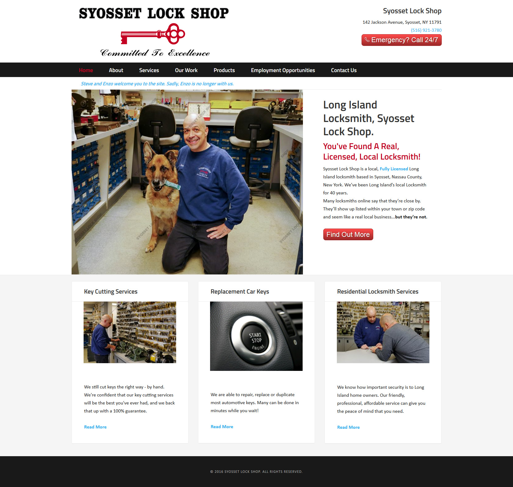 Syosset Lock Shop website built by Suffolk County Webmasters