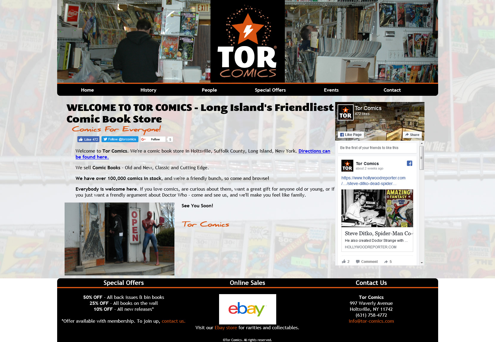 Tor Comics website built by Suffolk County Webmasters