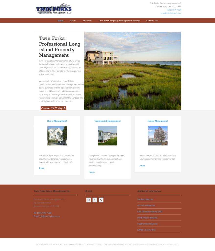 Twin Forks Estate Management website built by Suffolk County Webmasters