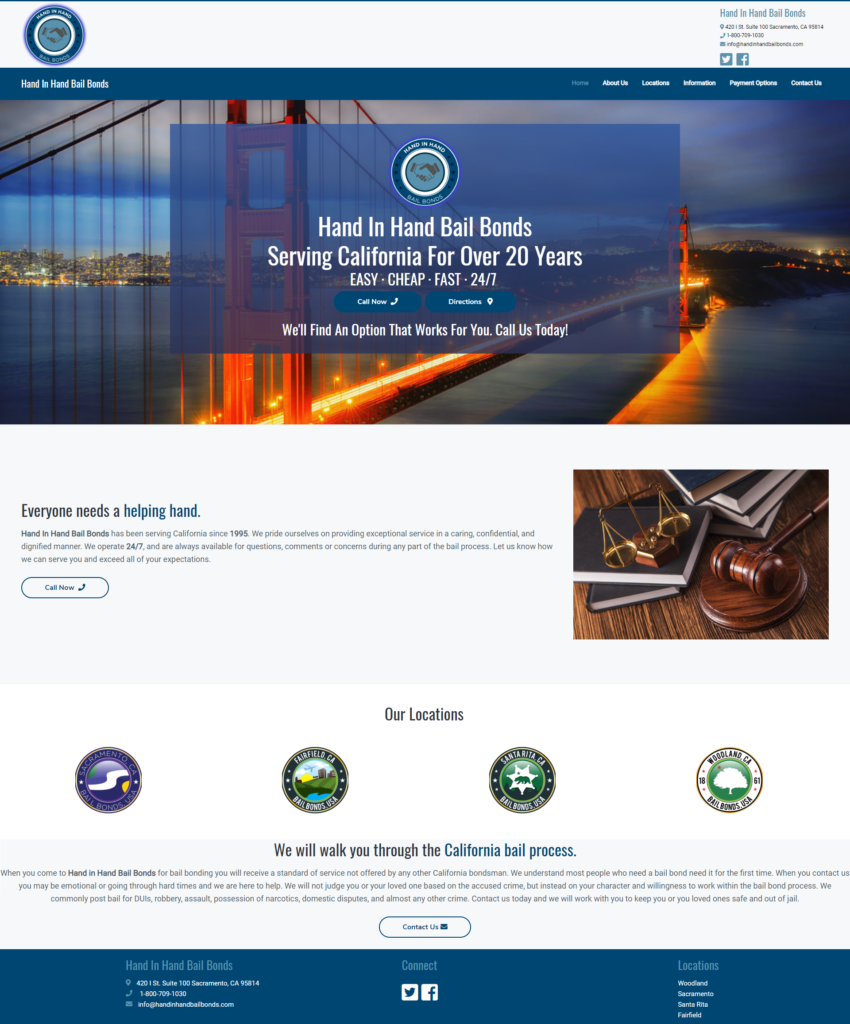 Hand In Hand Bail Bonds website built by Suffolk County Webmasters