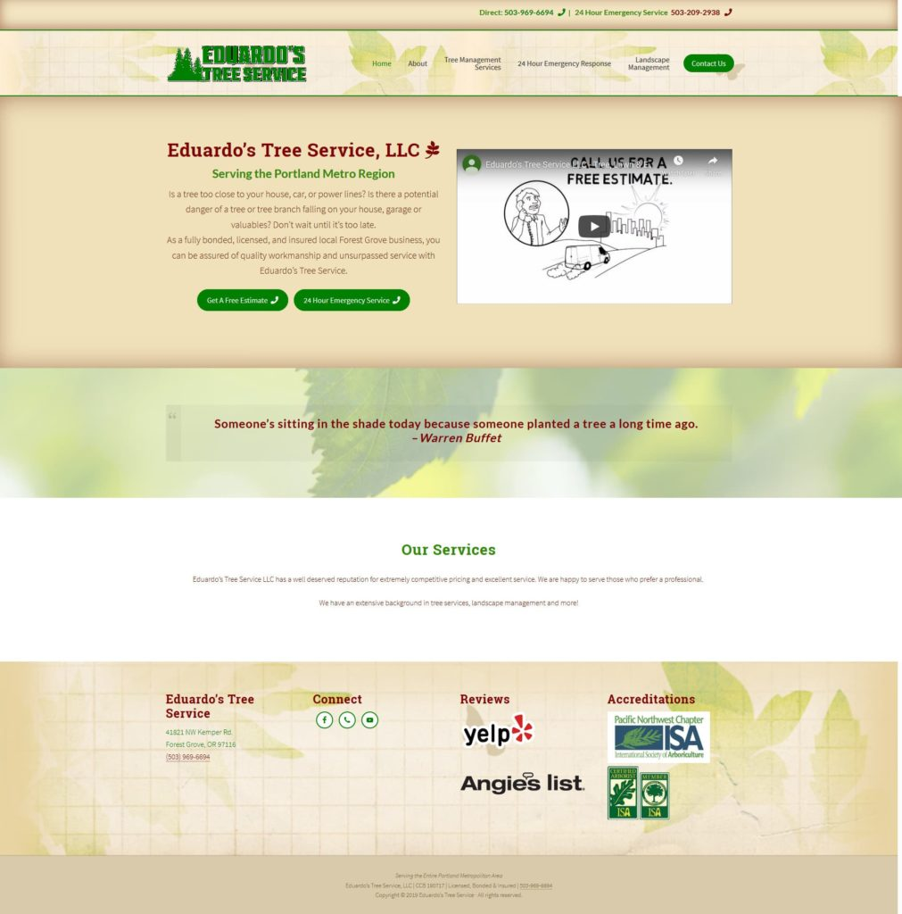 Eduardo's Tree Service website built by Suffolk County Webmasters