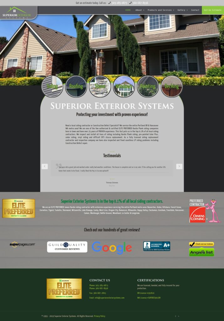 superior exterior website built by Suffolk County Webmasters