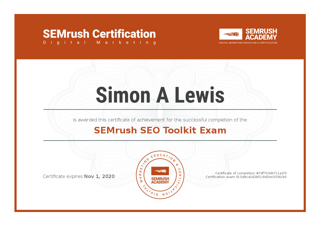 SEM rush certificate for simon lewis of sucoweb