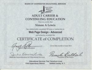 Simon A Lewis Advanced Web Page Design Certificate