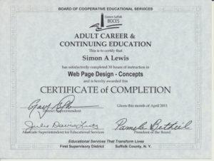 Simon A Lewis Web Design Concepts Certificate
